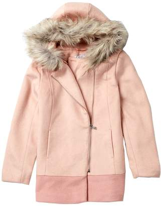 Coffee Shop Colorblock Coat with Faux Fur (Big Girls)