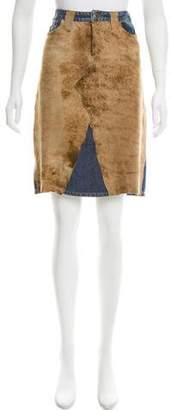 Dolce & Gabbana Suede-Trimmed Denim Skirt