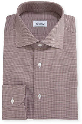 Brioni Micro-Houndstooth Dress Shirt, Brown