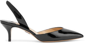 Paul Andrew Rhea Patent-leather Slingback Pumps - Black