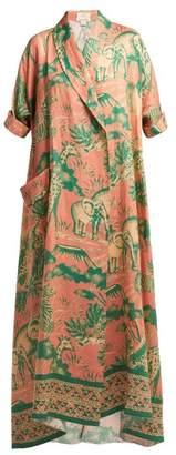 Chufy - Desta Safari Print Linen Robe - Womens - Pink Print