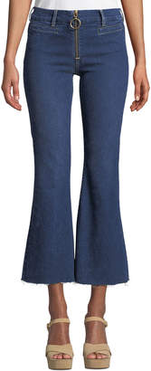 MiH Jeans Marrakech Crop Kick-Flare Jeans with Ring Zip & Raw Hem