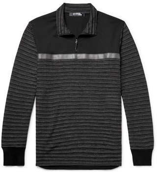 Junya Watanabe Shell-Trimmed Jacquard Half-Zip Sweater