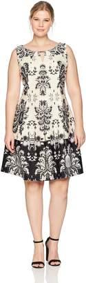 Gabby Skye Women's Plus Size Full Figure Tribal Printed a-Line Dress
