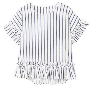 MANGO Striped ruffled blouse