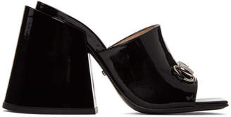 Gucci Black Patent Lexi Horsebit Sandals