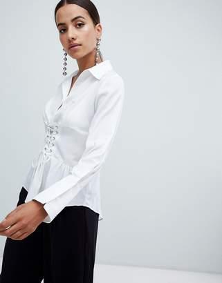 AX Paris long sleeve shirt with corset detail
