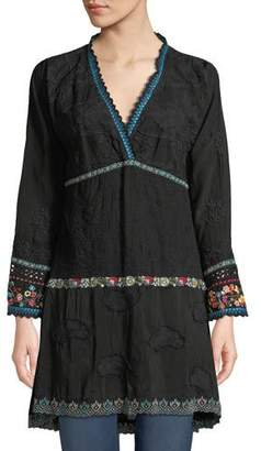 Johnny Was Ridden Contrast-Trim Tiered Tunic
