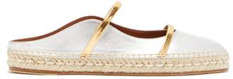 Malone Souliers Sienna Waved Edge Leather Espadrilles - Womens - Silver Gold