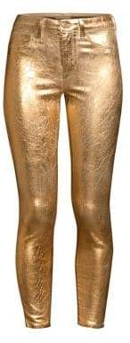 L'Agence Margot High-Rise Crackle Metallic Ankle Skinny Jeans