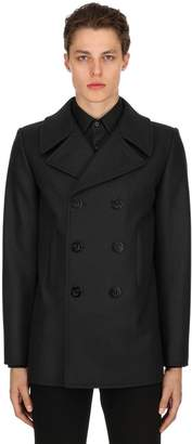 Saint Laurent Double Breasted Wool Cloth Peacoat