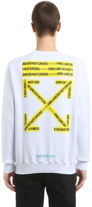 Off-White Off White Fire Line Tape Printed Cotton Sweatshirt