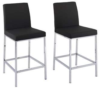 CorLiving Leatherette Bar Stools with Chrome Legs, Counter Height, Set of