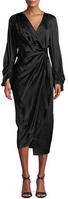 SOLACE London Aurora Gathered Silk Midi Dress