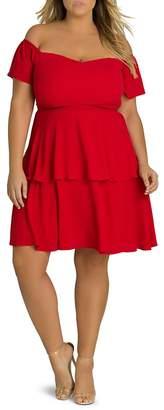 City Chic Plus True Romance Tiered Ruffle Dress