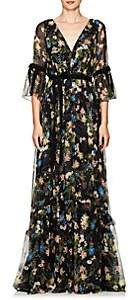 Erdem Women's Petunia Floral Silk Gown - Black Multi