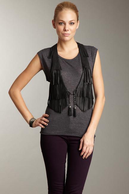 DomaDoma Leather Fringe Vest