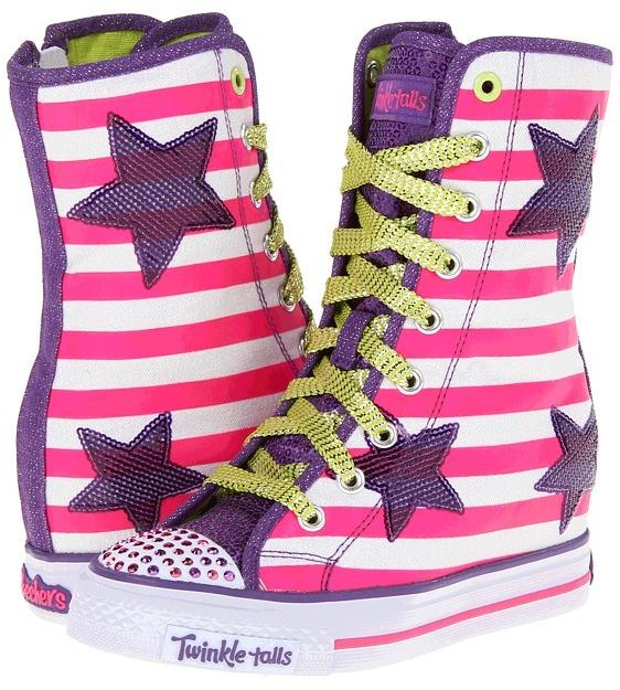 Skechers Twinkle Talls - Gimme - Goin' Wild 83631L (Little Kid/Big Kid) (White Multi) - Footwear