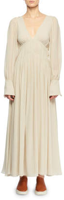 Stella McCartney Deep-V Smocked Empire-Waist Silk Long Dress