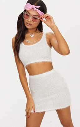 PrettyLittleThing Cream Eyelash Fluffy Knit Mini Skirt