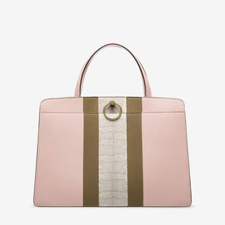 Bally Lottie Tote Pink, Women's calf leather and snakeskin top handle bag in dusty rose