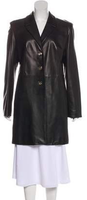 St. John Knee-Length Leather Coat