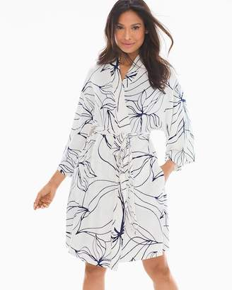Cool Nights Short Robe Floral Lines Ivory