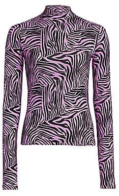 Andamane Women's Beth Zebra-Print Turtleneck Top