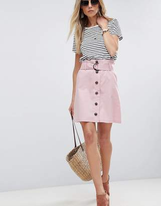 Asos Design Tailored Linen Paperbag Mini Skirt
