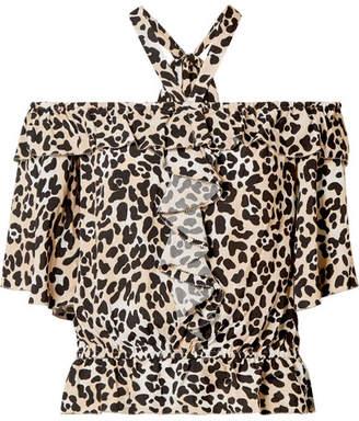 Temperley London Wild Cat Off-the-shoulder Leopard-print Crepe Top - Leopard print