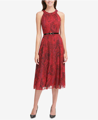 Tommy Hilfiger Printed Belted Chiffon Halter Dress