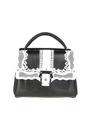Paula Cademartori Petite Faye Bag In Black Leather With Embroidery Det