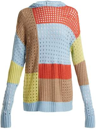 House of Holland Patchwork hooded wool-blend sweater
