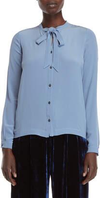 Roberto Collina Blue Tie-Neck Silk Blouse
