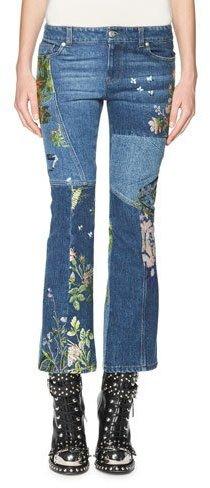 Alexander McQueenAlexander McQueen Floral-Embroidered Kick Crop Jeans, Light Blue