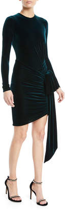 Alexandre Vauthier Long-Sleeve Velvet Jersey Tie-Waist Wrap-Bottom Mini Cocktail Dress