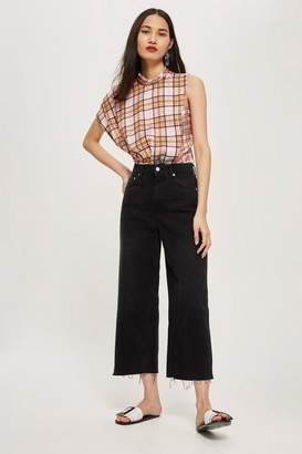 Topshop Washed Black Cropped Wide Leg Jeans