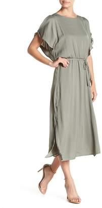 Vince Camuto Cold Shoulder Short Sleeve Belted Dress (Petite)
