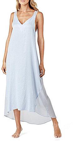 DKNYDKNY Striped Crepe & Chiffon Hi-Low Maxi Lounge Dress