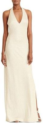 Women's Lauren Ralph Lauren Metallic Halter Gown $220 thestylecure.com
