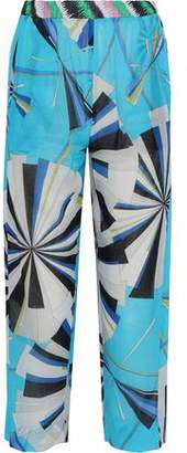 Emilio Pucci Cropped Printed Cotton-Voile Straight-Leg Pants
