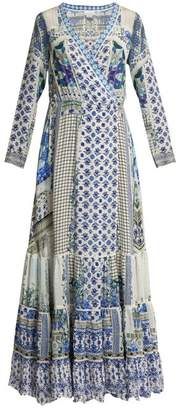 Camilla Salvador Summer Silk Wrap Maxi Dress - Womens - Blue Multi