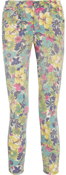 Goldsign Virtual printed cropped high-rise skinny jeans