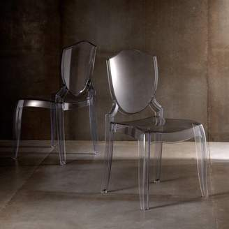 clear Weston Home Chelsea Lane Polycarbonate Crystal Chair, Set of 2