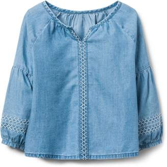 Crazy 8 Crazy8 Embroidered Chambray Top