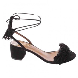 Aquazzura Black Leather Sandals