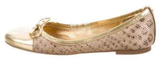Tory Burch Girls' Embossed Metallic-Accented Flats