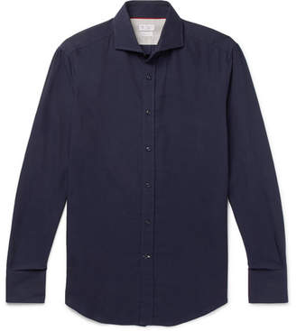 Brunello Cucinelli Slim-Fit Cutaway-Collar Cotton-Twill Shirt