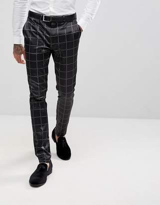 Asos Super Skinny Suit Pants In Printed Slogan Check