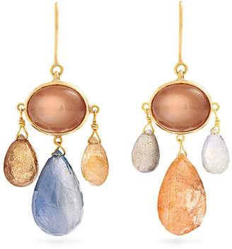 BRIGID BLANCO Sapphire, moonstone, tourmaline & gold earrings
